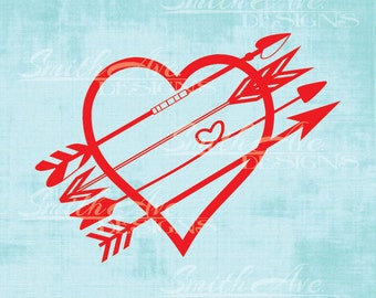 Valentine's Day Heart Arrows Cross, SVG File, Quote Cut File, Silhouette or Cricut File, Vinyl Cut File