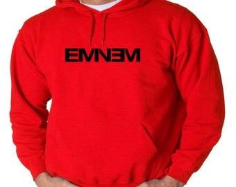 Eminem Logo Hoodie Classic Vintage Style Hip Hop Fleece Sweatshirt Eminem Slim Shady Detroit Music Dirty Dozen Rap God D-12