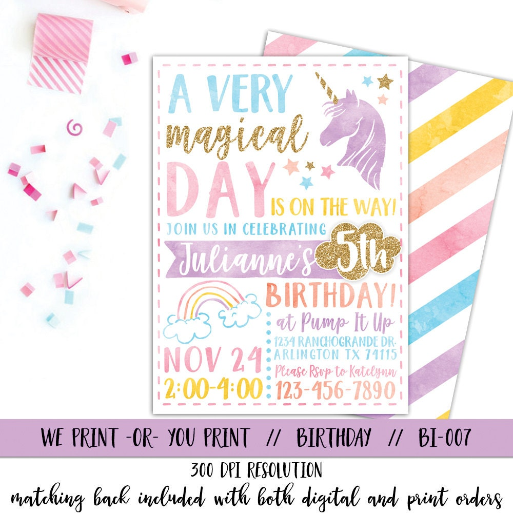 Unicorn Invitation Rainbow Invitation Magical Birthday