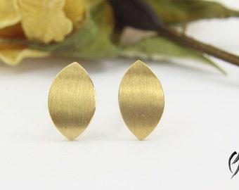 Earrings gold 750 /-, small Navette, stroke Matt, Handdarbeit