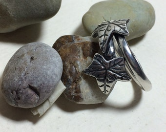 Silver ivy leaf ring one of a kind
