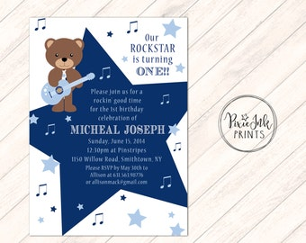 Rockstar 1st Invitation, Super Star First Birthday Invitation, Bear 1st Birthday Invite, Rockstar Invitation Printable