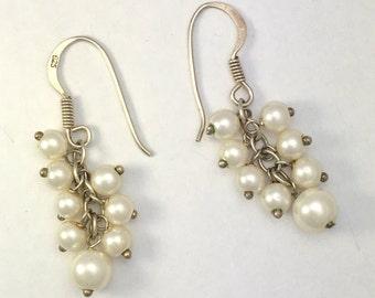 Vintage Sterling Silver Faux Pearl Grape Cluster Earrings