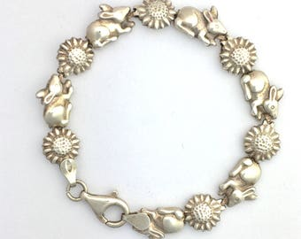 Vintage Sterling Silver Rabbit and Sunflower Bracelet