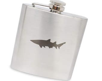 Shark 6 Oz Flask, Stainless Steel Body, Handmade In Usa