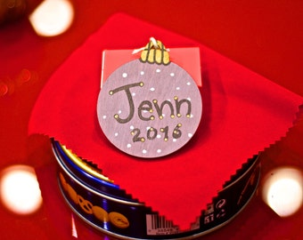 Personalized Hand Painted Christmas Ornament (painted with ecological acrylic paint), Chritmas, eco-friendly, Choose color & font