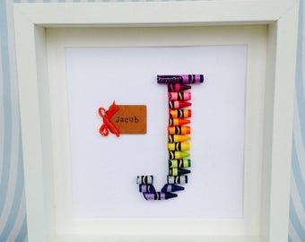Hand Made Crayon Name Teacher Frames