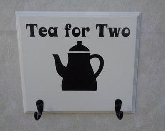 TEA FOR TWO, Mug Rack, Tea Mug Rack, Tea Mug Hanger, Tea Cup Rack, Tea Cup Hanger, Tea Mug Holder, Tea Cup Holder