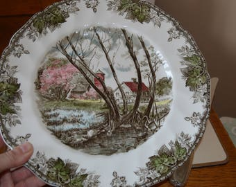 Vintage The Friendly Village Dinner Plate, 'Willow by the Brook', Johnson Bros, 1960s, Ironstone Transferware, Mid Century Replacement China