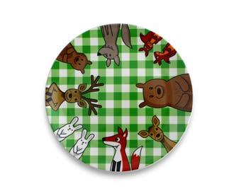Plate - green picnic