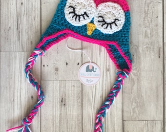 Owl crochet baby hat, 3-6 months, perfect photo prop, new baby gift - ready to ship