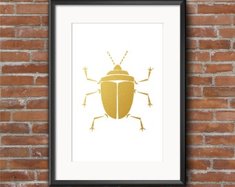 Gold Beetle Wall Art, INSTANT DOWNLOAD, Gold Foil Printable, Download, Wall Art