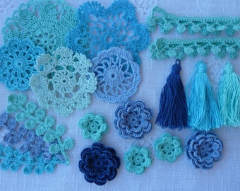 kit crochet elements for scrapbooking and sewing
