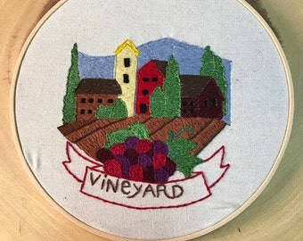 Hand Embroidered Vineyard Landscape