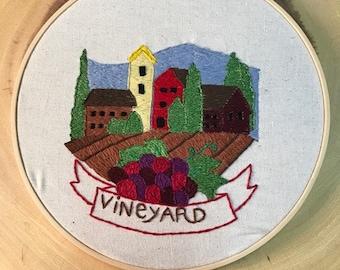 Hand Embroidered Vineyard Landscape