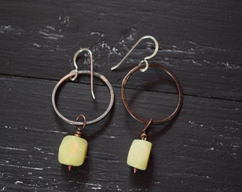 Elegant earrings, copper and yellow jade, personal earrings for anniversary wife 20 years, personal jewelry gift idea for her, best friend