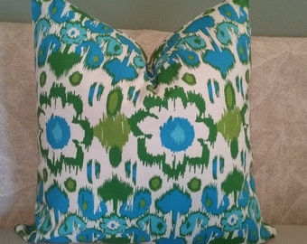 Teal pillow cover, green pillow cover, pillow cover, floral, teal, turquoise, green, lime green, decorative pillow, accent pillow, home deco