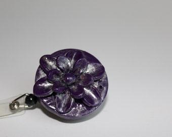 Purple Flower badge holder with reel