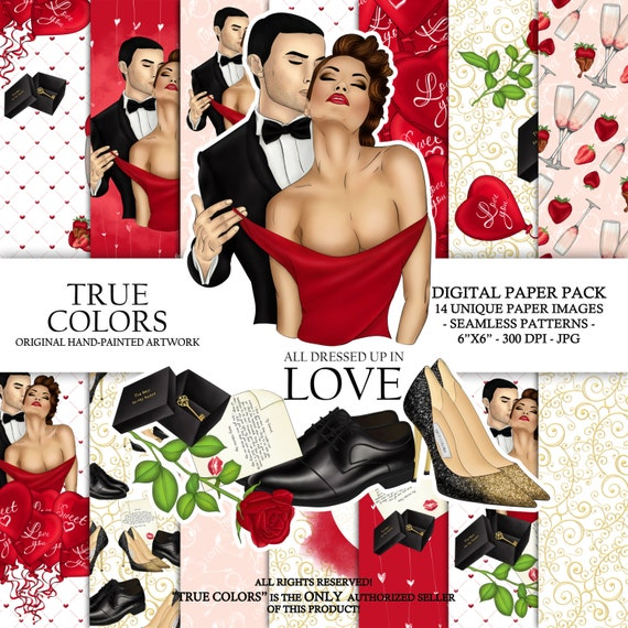 Valentines Day Couple Love Digital Paper Red Dress Girl Fashion Illustration Planner Stickers Supplies Seamless Watercolor Red Background