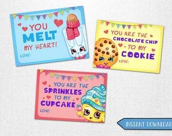 "Shopkins Valentine's cards, Shopkins Valentine's Day cards, Valentine's Day cards, Shopkins Valentine's! 3.5x2.5"" each."