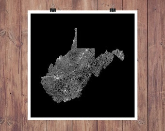 Road Map - West Virginia High Resolution Digital Print / West Virginia Map Print / West Virginia Art / WVU Graduation Gift Map / Map Art
