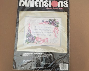 """Dimensions Stamped Cross Stitch Vintage 1991 """"Becoming A Grandmother"""" Sealed Kit No. 3113 14""""x11"""""""