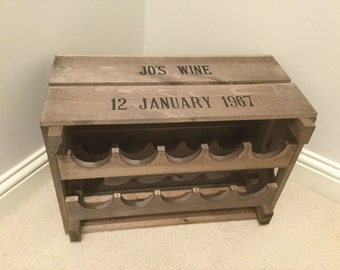 Vintage Style Wooden Reproduction Apple Crate Wine Rack Personalised with Name and Date