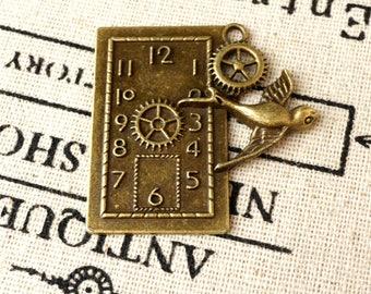 Steampunk clock and bird 2 charm antique bronze vintage style pendant jewellery supplies C175