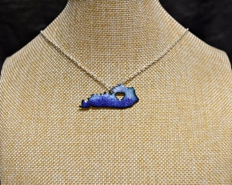 Blue/White Distressed Handmade Kentucky Stone Necklace!