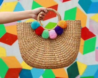 Beach Basket Bag, Tote Bag With Colorful Pompoms