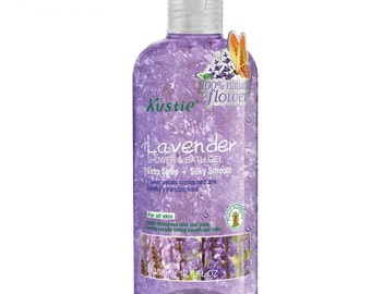 Biofinest-Kustie Lavender Flower Petals Shower and Bath Gel - Handpicked Natural Flower Petals - Lavender Essential Oil -
