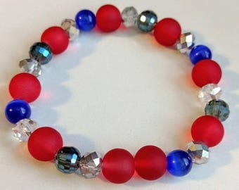 Red, White, and Blue Beaded Stretch Bracelet