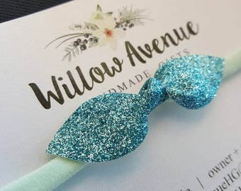 Aqua glitter headband - stretches to fit newborn through adult - one size fits most - sparkly blue head band