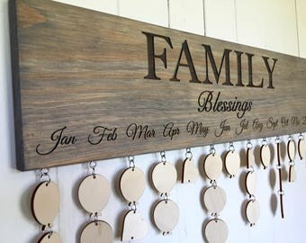 Family Blessings Board, Family Birthdays Board, Anniversaries Board, Family Calendar, Birthday Gift, Anniversary Gift