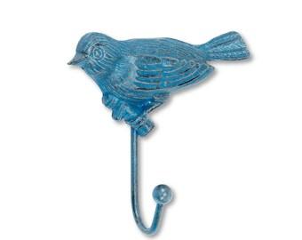 Rustic Blue Bird Wall Hook, Cast Iron Wall Hook, Purse Hanger, Necklace Hanger