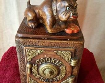 Vintage Bulldog on Cookie Safe Cookie Jar