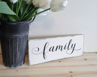 """Family Wood Sign Decor, Family Sign, Family Wood Sign, Family Wall Decor, Family Decor 6""""x15"""""""