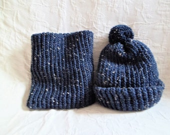 Hat and snood set child knitted scarf hand knitted dark blue
