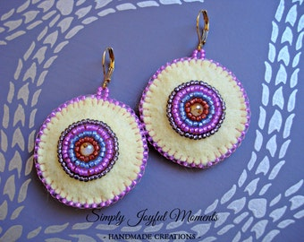 Felt earrings bead embroidery//Bead embroidery felt earrings