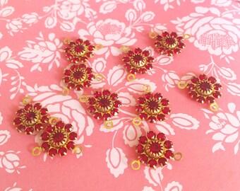 Red Swarovski Flowers | Swarovski Crystal Flowers | Red Crystal Finding | Crystal Flower Charm | Brass Swarovski Crystal Finding | 4 Pieces
