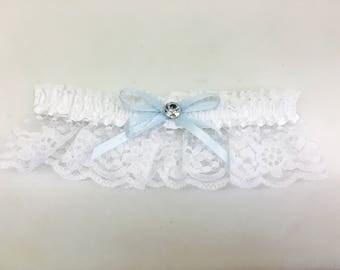 Wedding garter, white satin and lace garter, prom garter, bachelorette garter