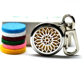 Sunflower Stainless Steel Essential Oil Diffuser Keychain - With Choice of Essential Oil