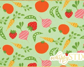 Vegetable Fabric By the Yard, Green Garden Veggies David Walker Free Spirit Fabrics PWDW077, BTY Fruit Vegetables Cotton Quilting Fabric