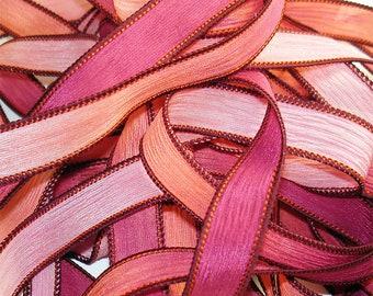 """1PC. ELECTRIC MELON 42"""" hand dyed wrist wrap bracelet silk ribbon//Yoga wrist wrap bracelet ribbons//Hand dyed Boho Silk wrist wrap ribbon"""