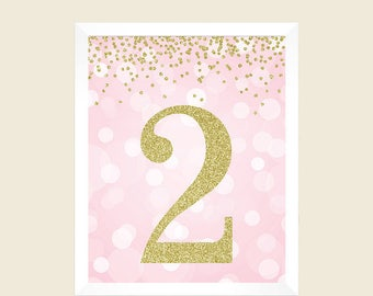 Number 2, Birthday Print, 2nd Birthday Party Sign, 2nd Birthday Party, Second Birthday, Pink and Gold Glitter, Printable Party Decorations