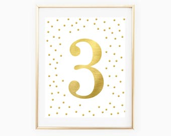 Gold Foil Third Birthday Party Printables - Number 3 - 3rd Birthday Party - Gold Metallic - Gold Confetti Print - 3rd Birthday Party Sign