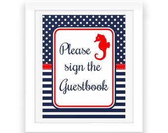 Please sign the Guestbook - Baby Shower Party Digital Print -  Nautical Party Printables - Red White Blue - Nautical Baby Shower Sign - Baby