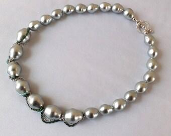 Vintage Grey Cultured Pearls Necklace