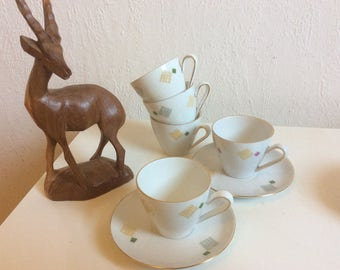 Mid century espresso set by Kahla 5 cups and 6 saucers 60s 50s