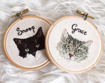 Miniature Pet Portrait Embroidery Hoop Art (Made to Order)